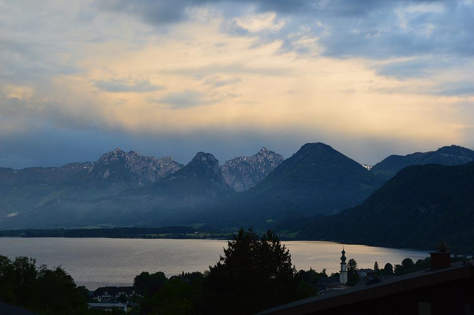 Evening Rest, Lake Wolfgang, Lake, St, Gilgen, Austria