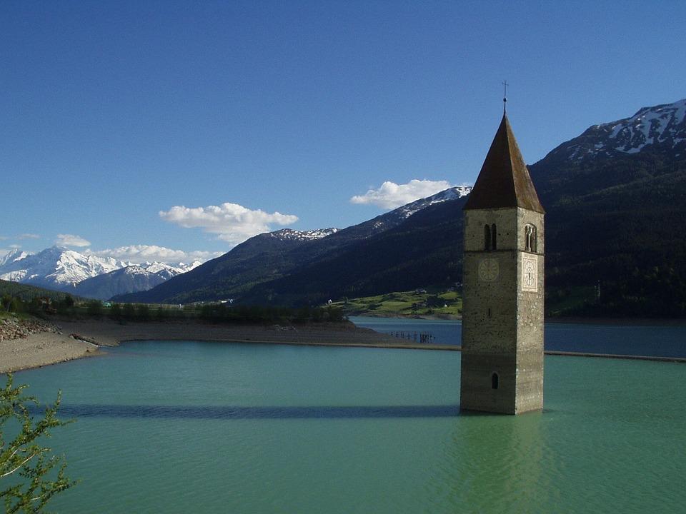 Steeple, Church, Lake, Underwater, Flooded, Ortler