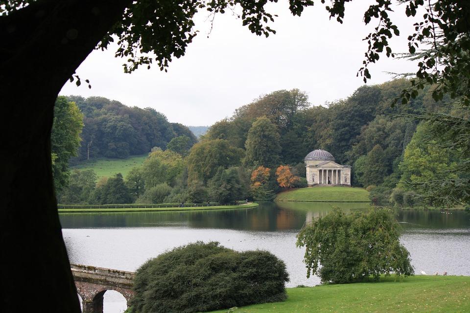 Lake, Trees, Park, Grass, Building, Stourhead