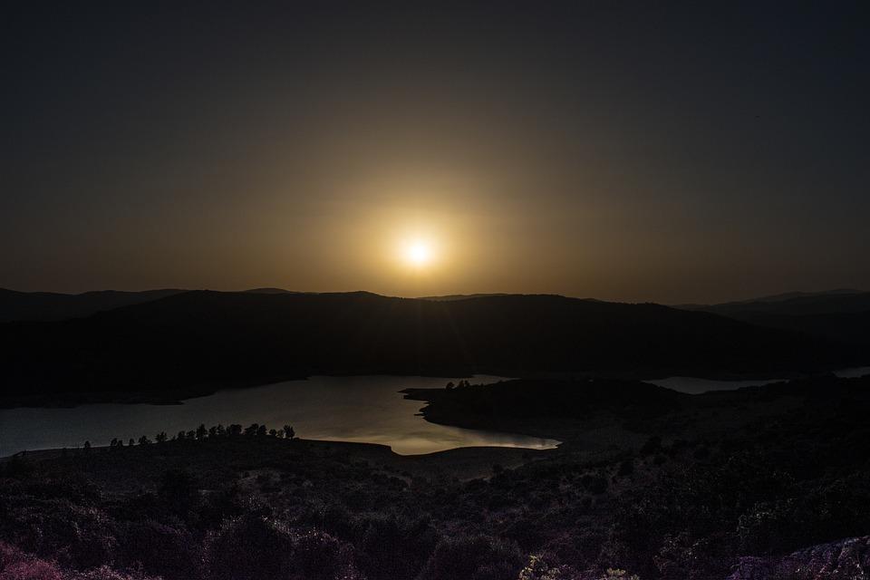 Sunset, Sun, Lake, Light, Sky, Night
