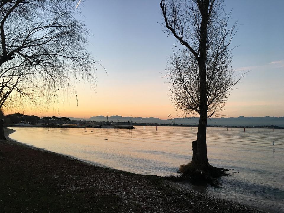 Sunset, Lake, Nature, Tree, Water, Sun, Sky