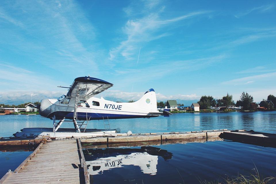 Blue, Sky, Clouds, Sea, Water, Lake, Seaplane, Sunny
