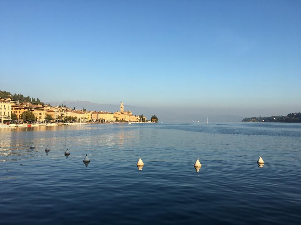 Lake, Garda, Salò, Sunset, Sky, Sun