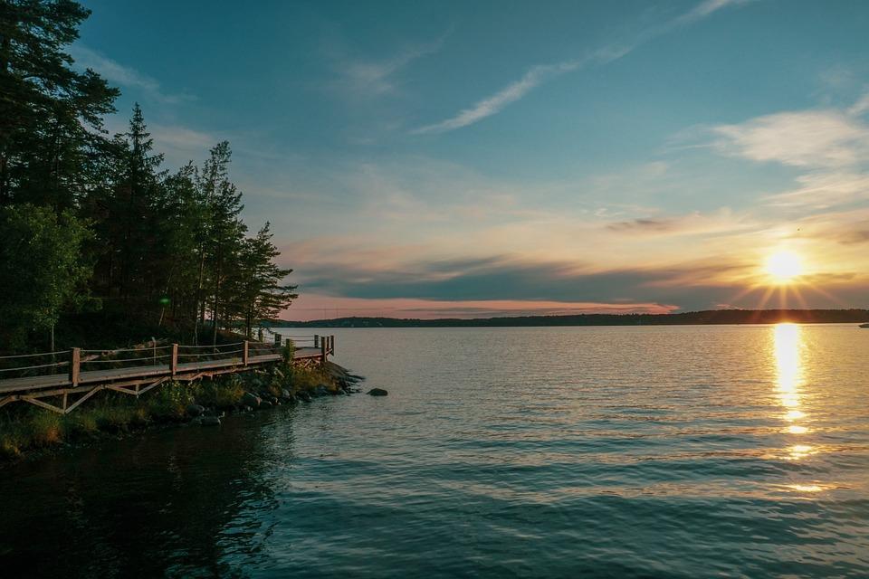 Sunset, Lake, Sweden, Scandinavia, Yacht, Sailboat