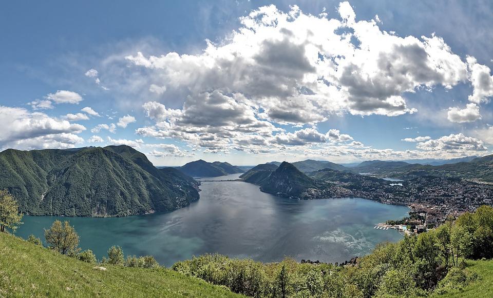 Switzerland, Ticino, Lago Di Lugano, Lake, Nature
