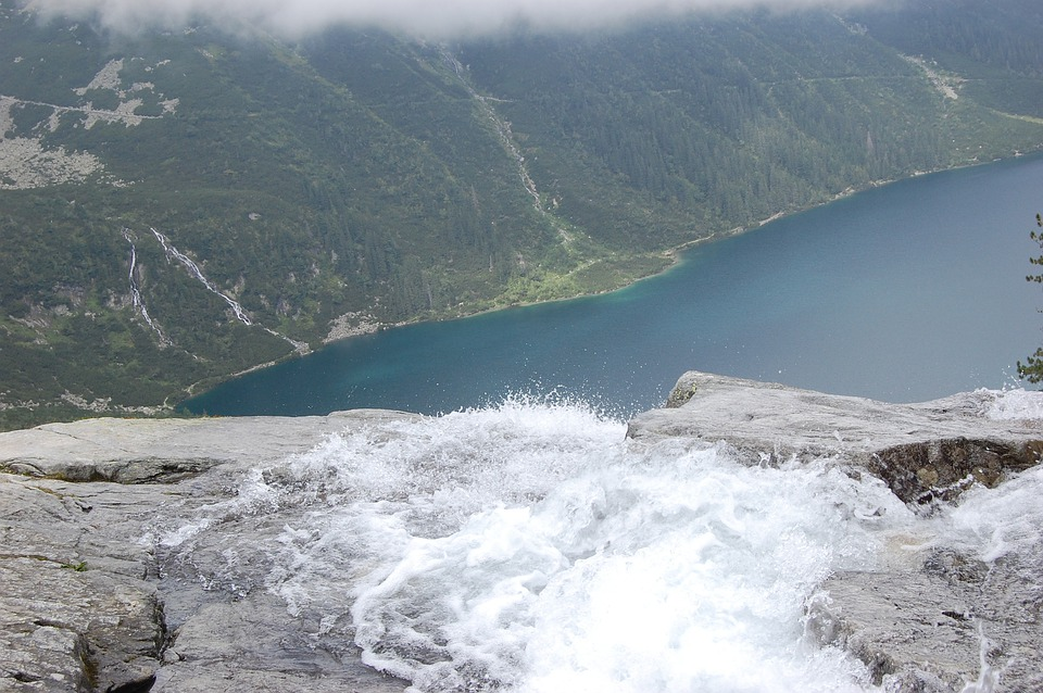 Top View, Landscape, Tatra, Lake, Water, Waterfall
