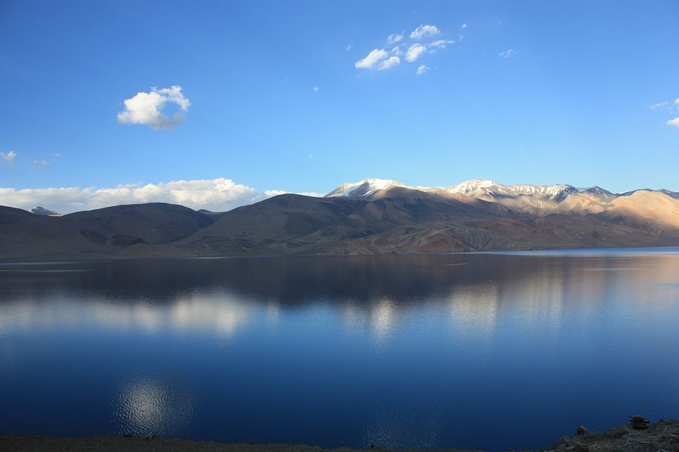 India, Ladakh, Tsomoriri, Lake, Mirroring