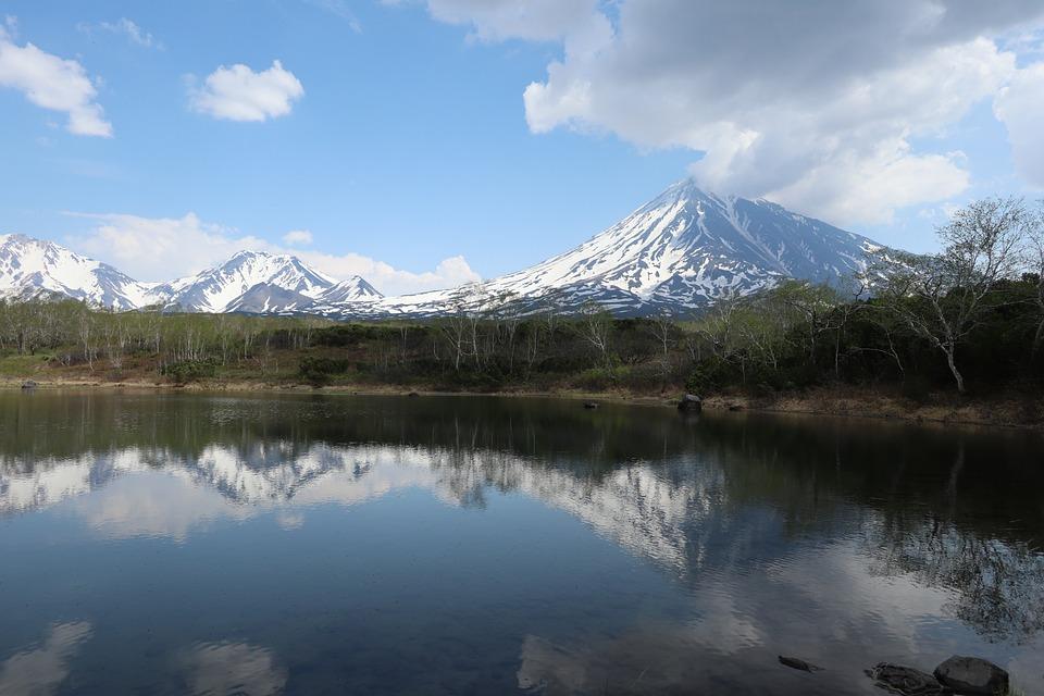 Volcano, Lake, Reflection, Kamchatka, Mountains, Summer