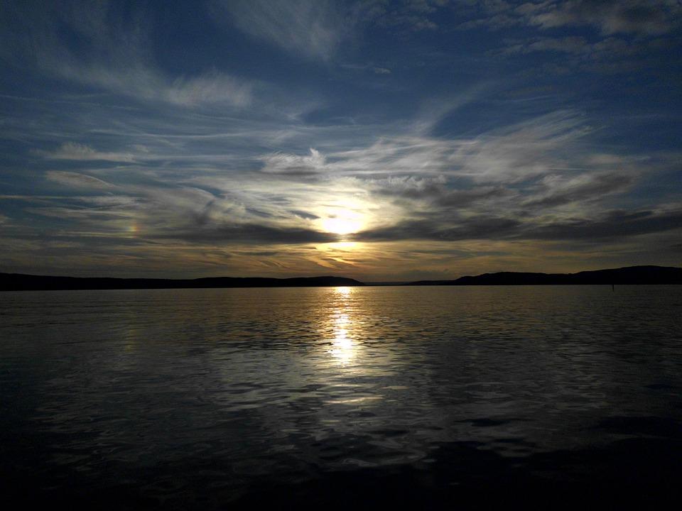 Sunset, Water, Lake, Clouds