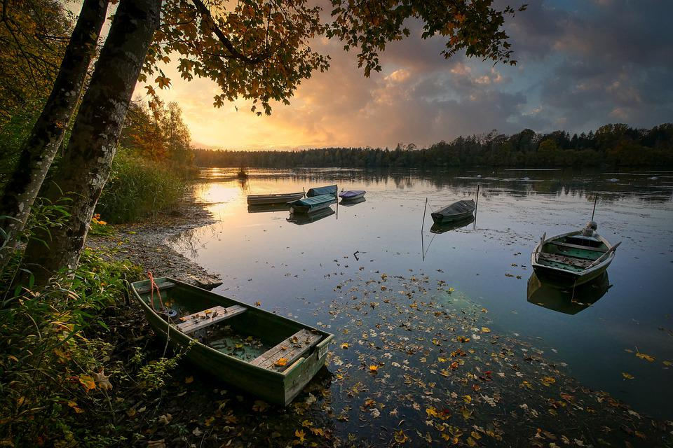 Lake, Boats, Bank, Dusk, Sunset, Reflection, Water