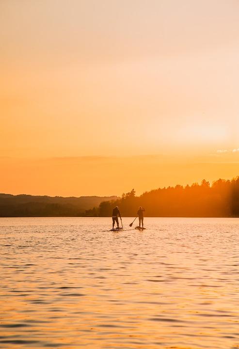 Lake, Sunrise, Sunset, Bavaria, Germany, Water
