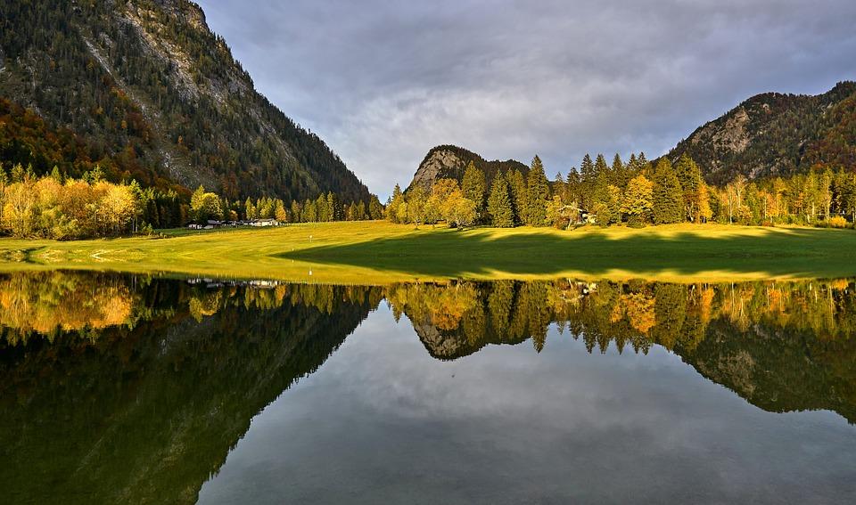 Landscape, Nature, Mirroring, Water, Mountains, Lake