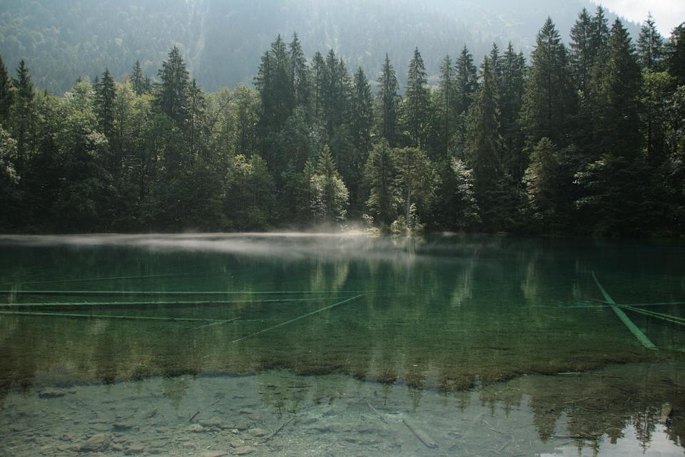 Bergsee, Alpine, Lake, Fog, Mirroring, Water, Nature