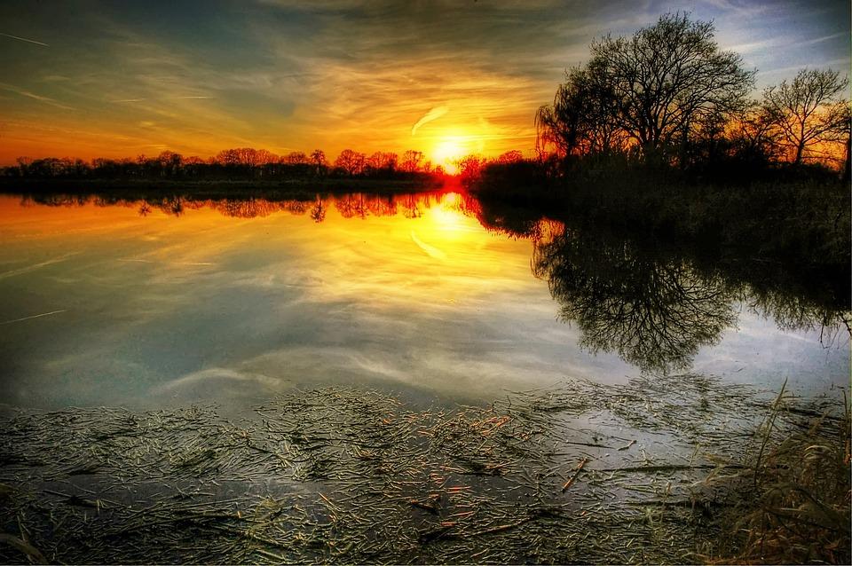 Sun, Pond, Water, Nature, Lake, Mirroring, Landscape