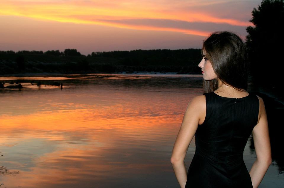 Girl, Sunset, Water, Beauty, Lake, Seductive, Summer