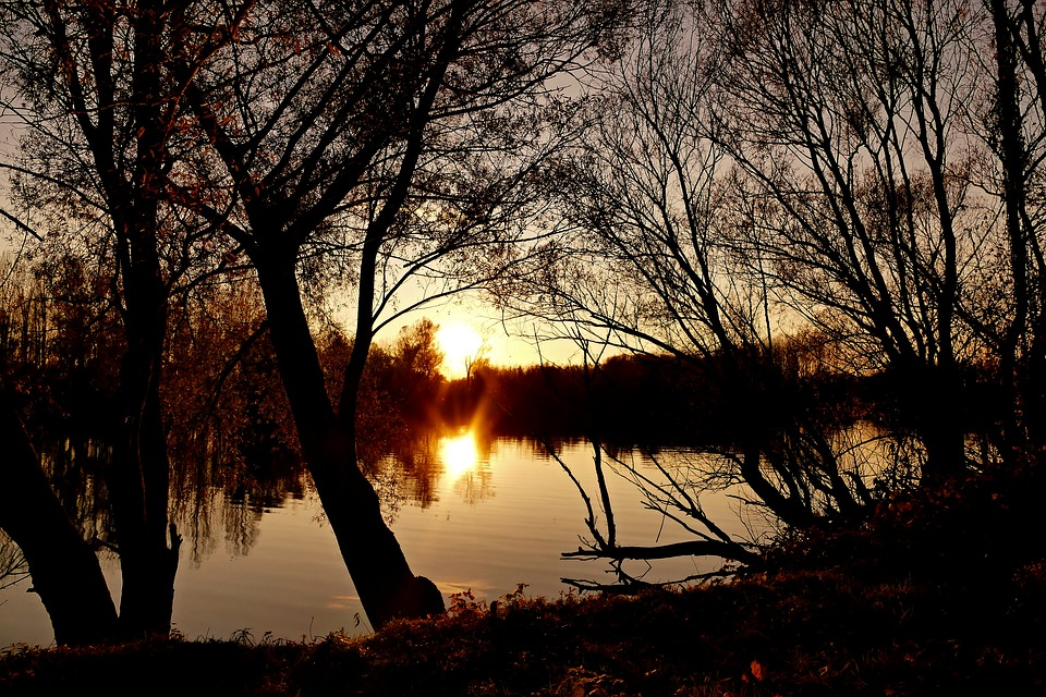 Nature, Country, Lake, Water, West, Autumn, Sun, Rays