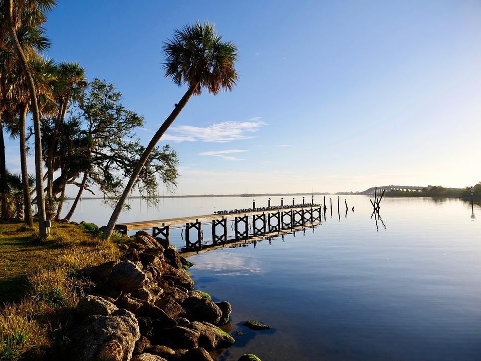 Lakeview, Lake With Pier, Calm Morning On Water