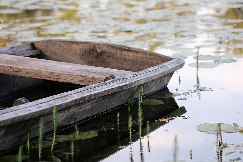 Wooden Boat, Lake, Reflection, Summer, Relaxing