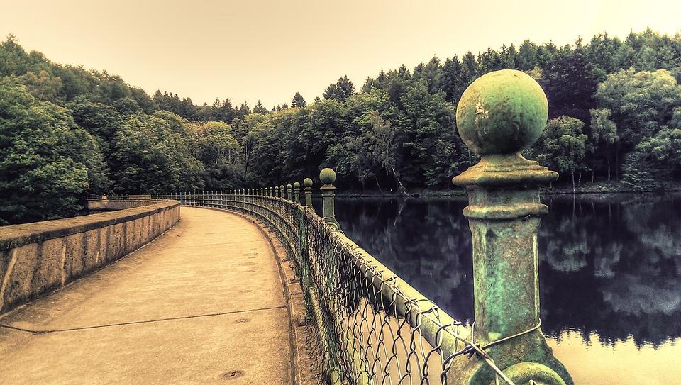 Reservoir, Dam, Lake, Railing, Green, Wrought Iron