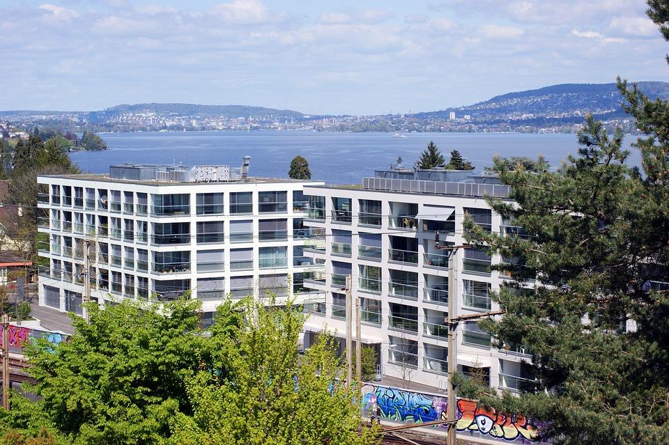 Lake Zurich, Lake, Homes, Railroad Track, Switzerland