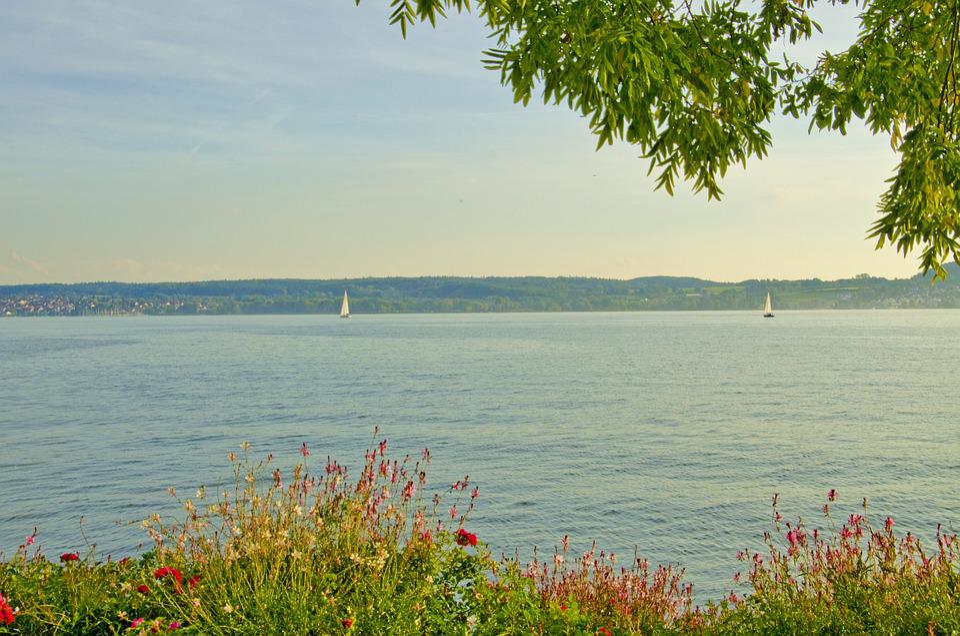 Lake Constance, überlingen, Lake, Sunset, Sail
