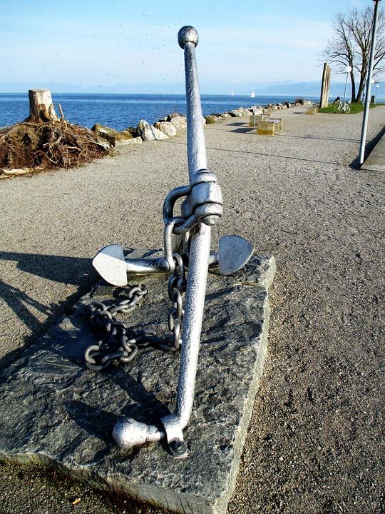 Promenade, Lakeside, Lake Constance, Ship Anchor, Iron
