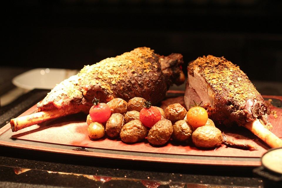 Lamb, Chop, Food, Potato, Tomato, Background