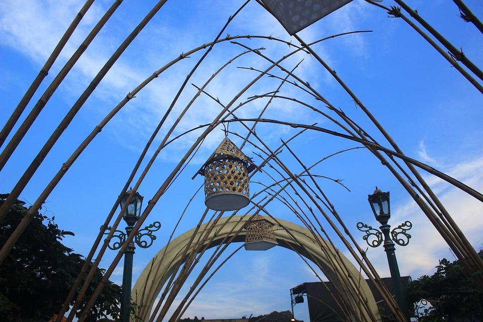 Art, Blue, Sky, Bamboo, Lamp