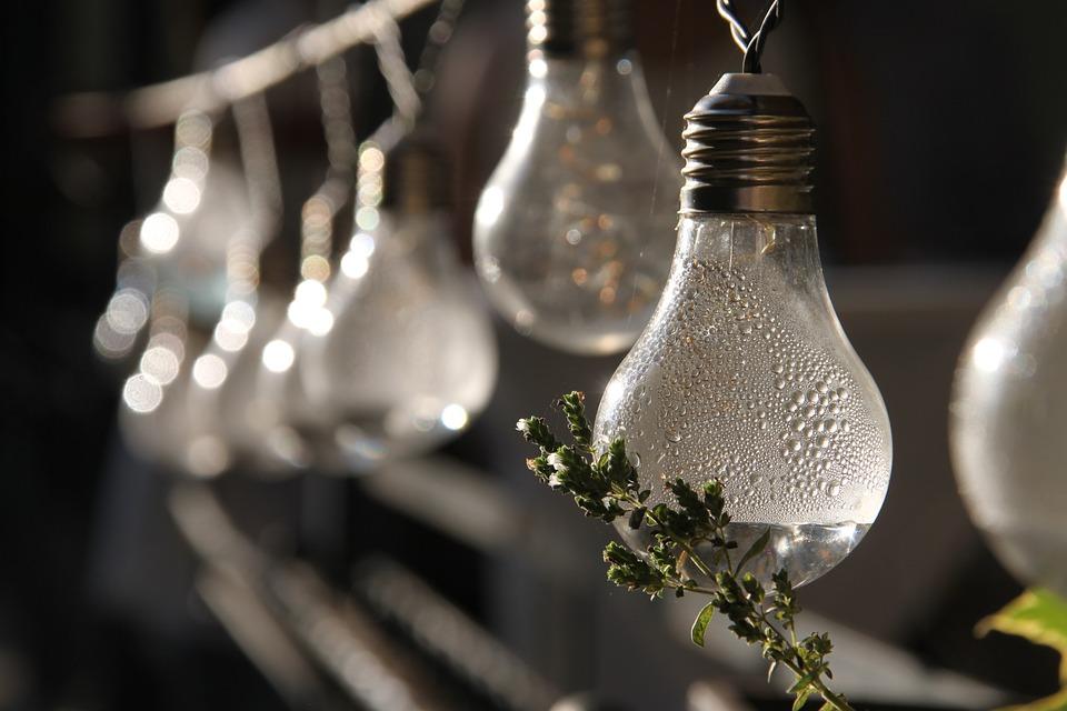 Pear, Garden, Garland, Lamp