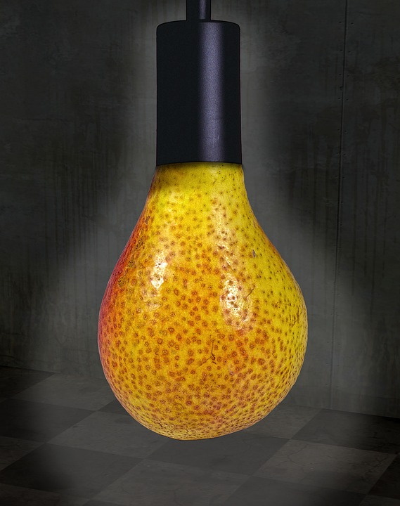 Pear, Lamp Holder, Surreal, Williams Christ, Light Bulb