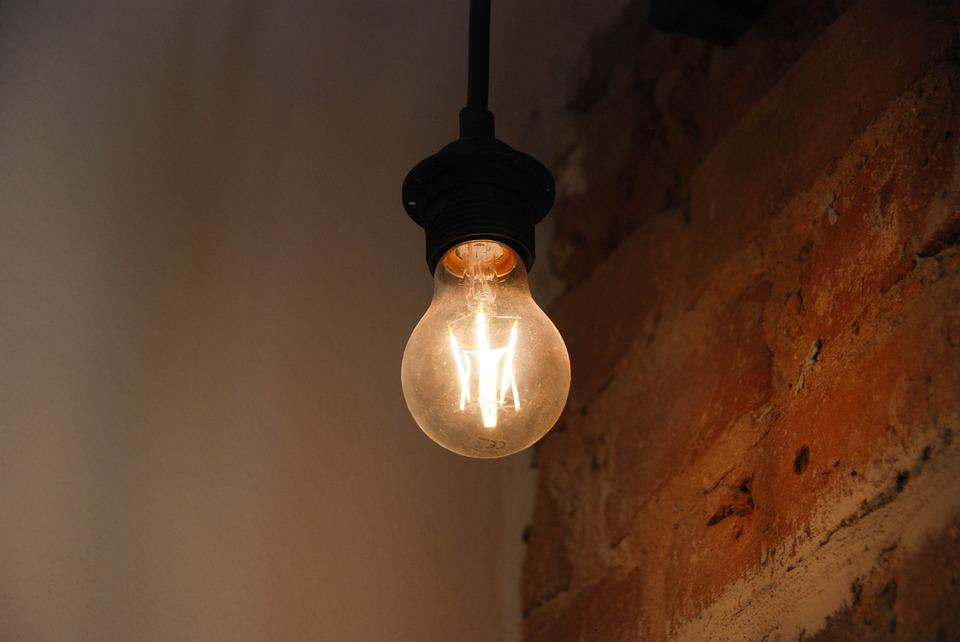 Lamp, Light, Bulb, Indoors, Illuminated, Bricks