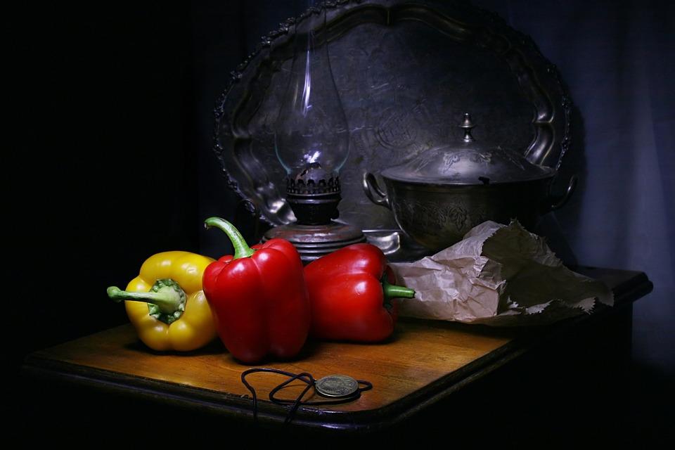 Still Life With Pepper, Bag, Lamp Kerosene, Tureen