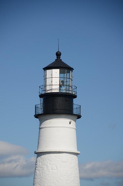 Lighthouse, Maine, Light, Lamp, Ocean, Shore, Beach