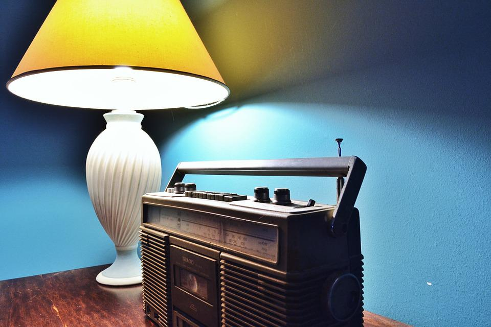 Light, Style, Lamp, Old Radio, Blue Wall, Irradio