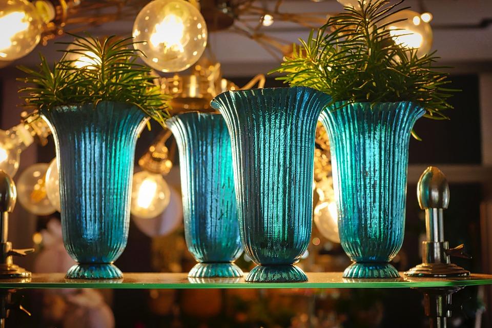 Vase, Blue, Crystal, Transparent, Light, Lamp