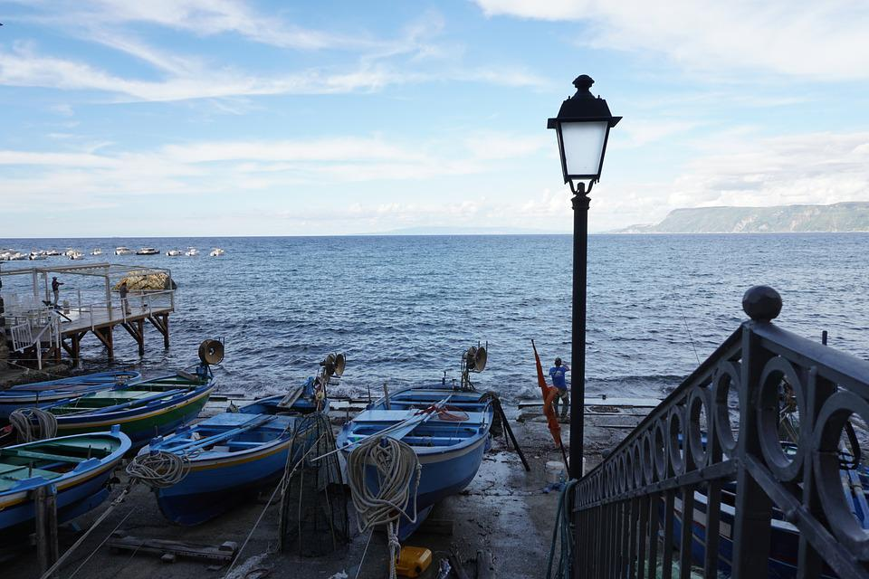 Lamppost, Boats, Sea, Horizon, Boat, Sun, Railing