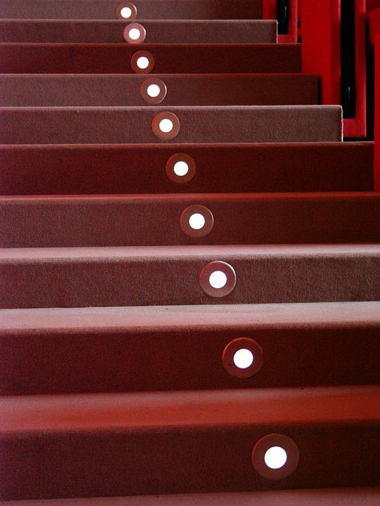 Stairways, Steps, Red, Light, Led, Lamps