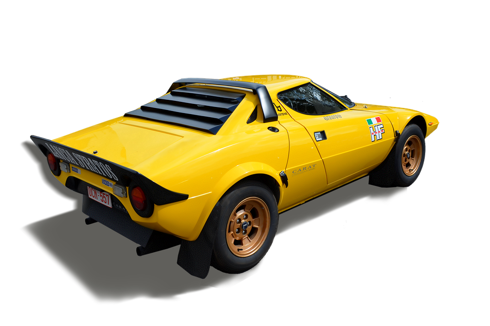 Lancia Stratos, Sports Car, Yellow, Exempt And Edited