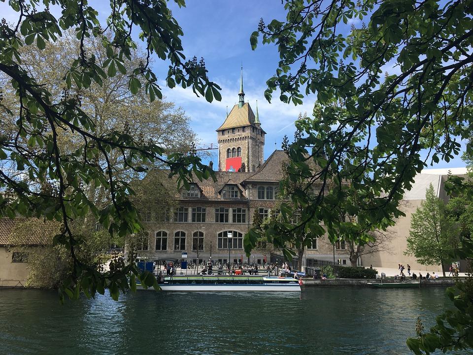 Museum, River, Zurich, Landesmuseum, Boat, Ship, Exit