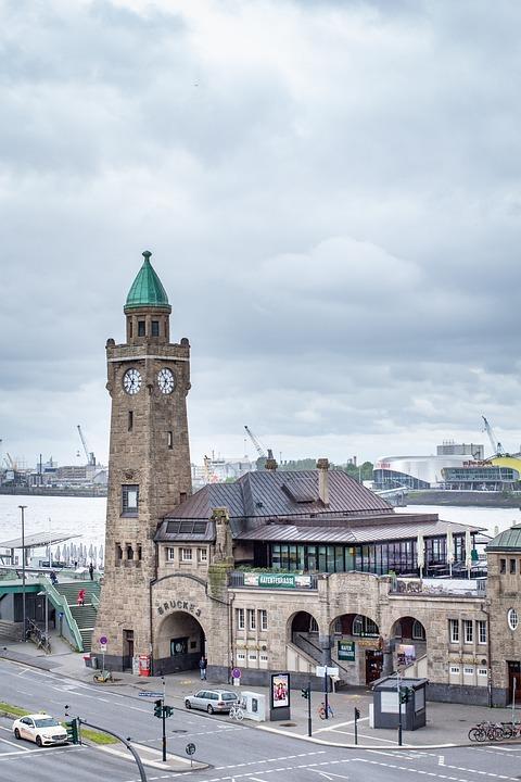 Port, Building, Hamburg, Clock, Landing Bridges, Elbe