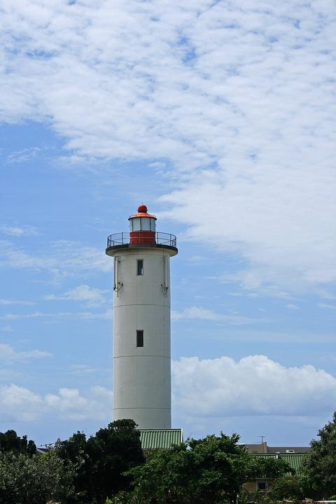 Lighthouse, White, Tall, Beacon, Landmark, Nautical