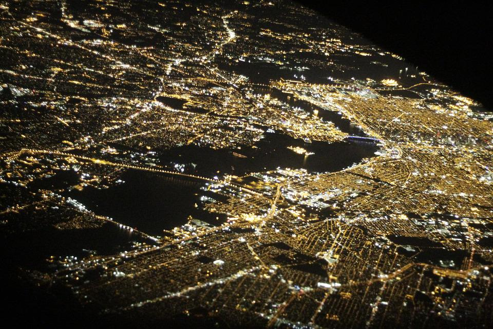 New York, Flight, Night, Landmark, Transportation