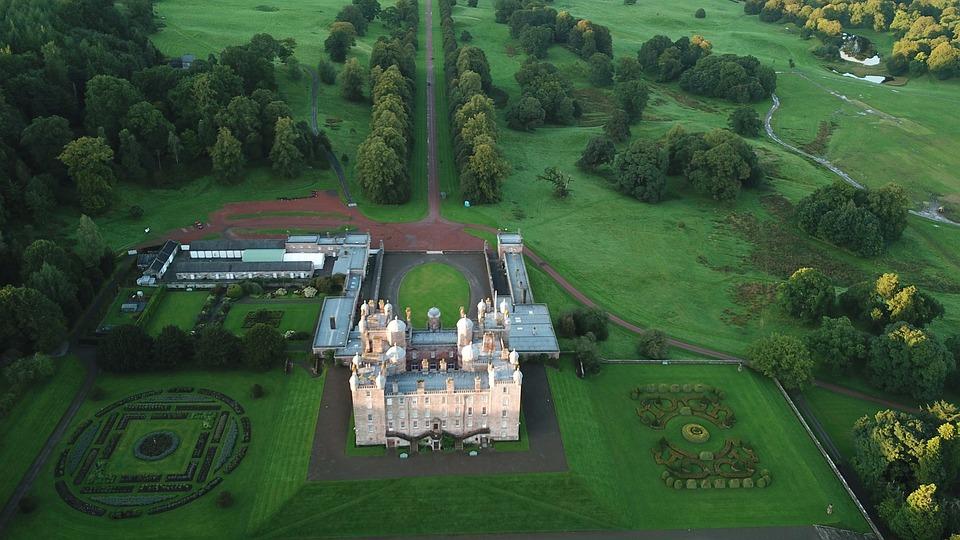 Scotland, Castle, Drumlanrig, Landmark, Landscape