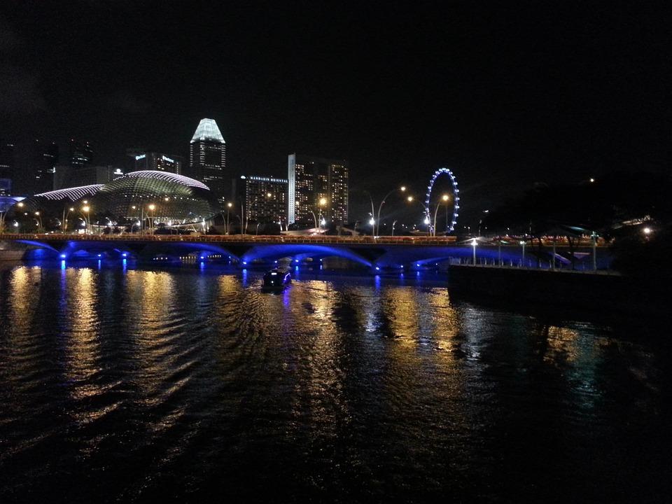 Singapore, Water, Night, Landmark, District, Sky