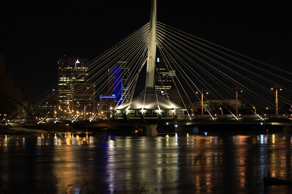 Bridge, Night, Water, Landmark, City, Skyline