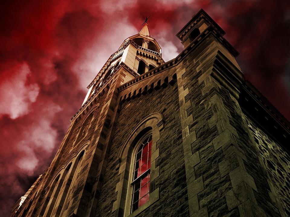 Church, Building, Sky, Red, Landmark, Tourism, Surreal