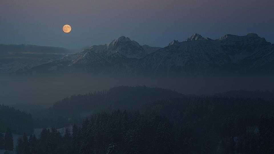 Night, Moon, Allgäu, Mountains, Alpine, Landscape