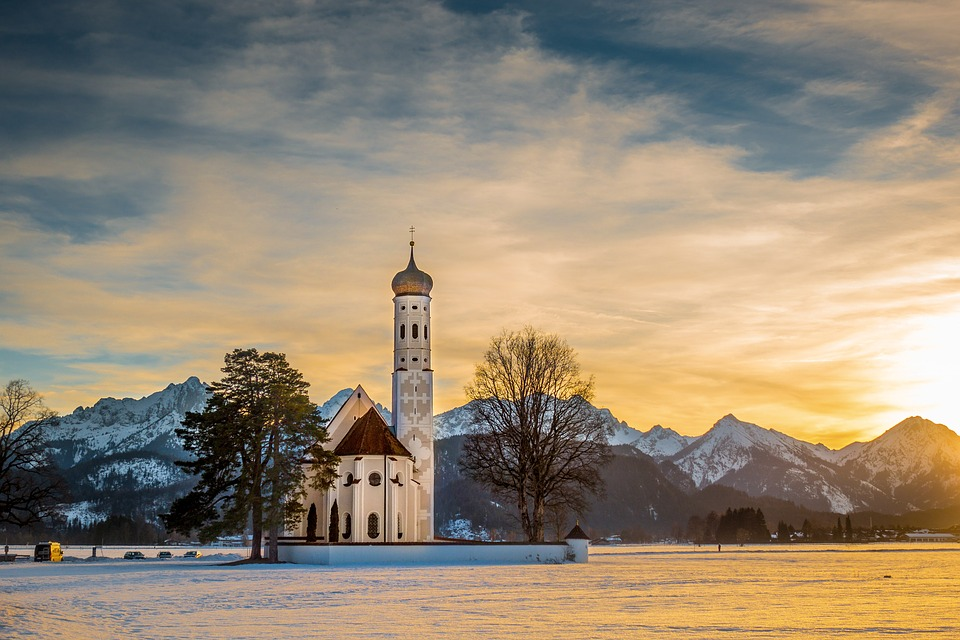 Sunset, Church, Winter, Mountains, Landscape, Allgäu