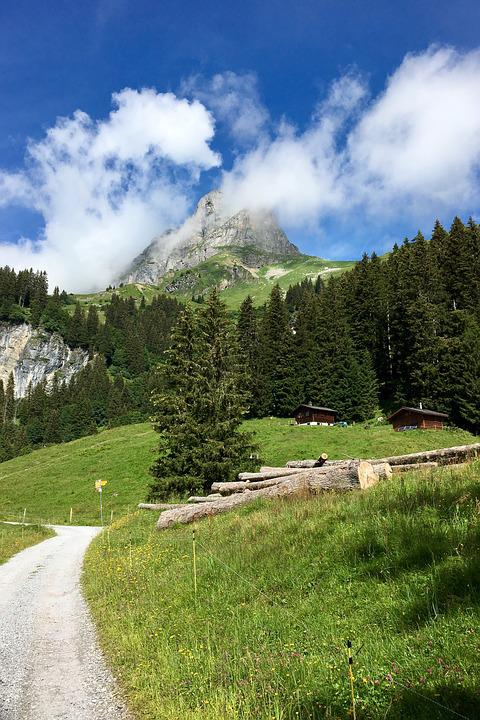Mountain, Clouds, Trail, Landscape, Sky, Alpine, Glarus