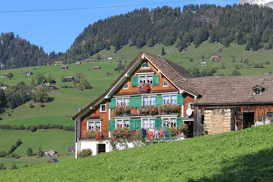 Chalet, Mountain, Alps, Switzerland, Nature, Landscape